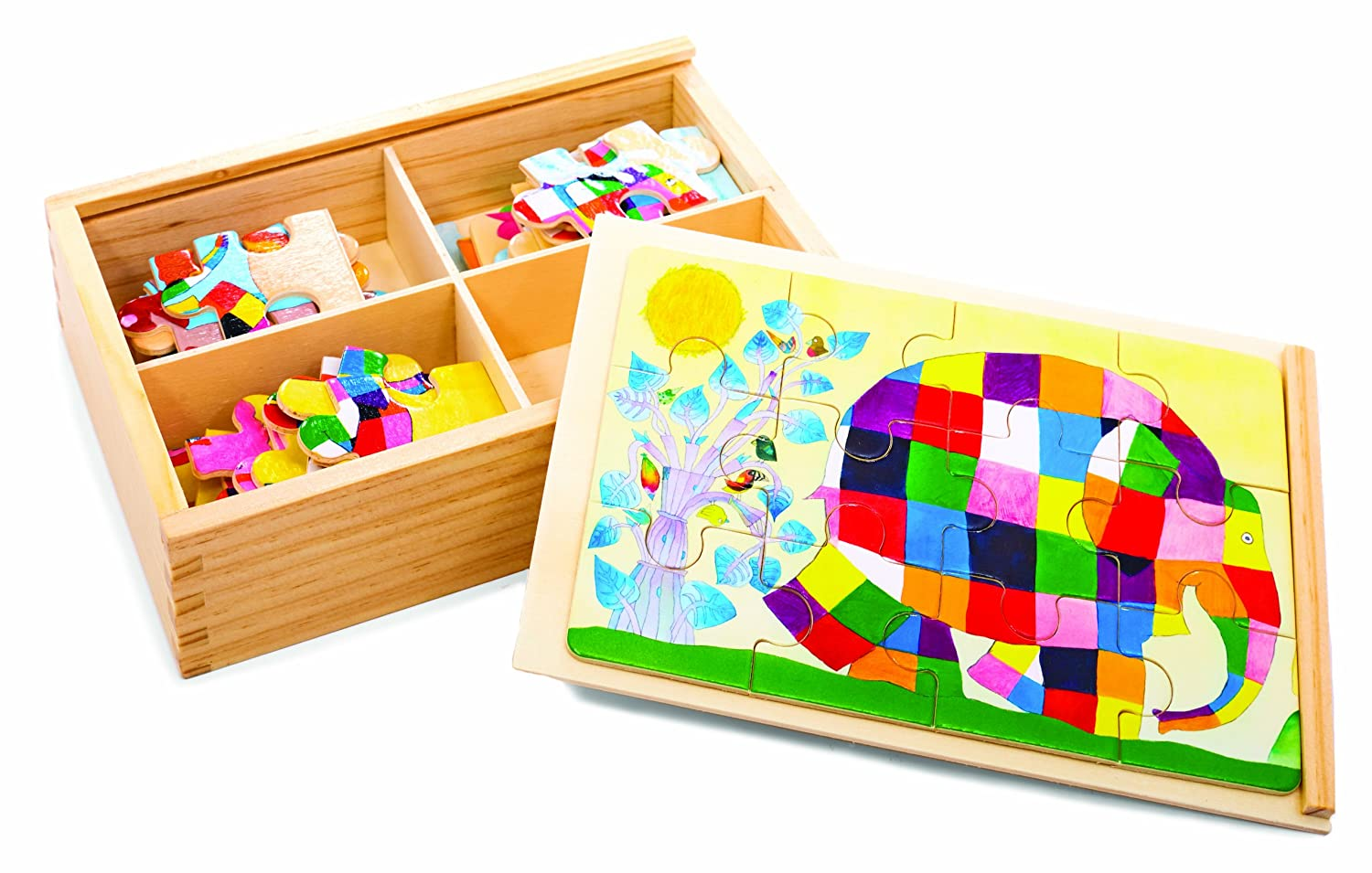amazon com kids preferred wood puzzle elmer the patchwork