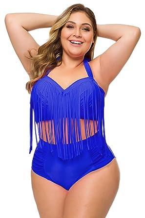 80b98ea764 Amazon.com: Spring Fever Plus Size Retro High Waist Braided Fringe Top  Bikini Swimwear for Women: Clothing
