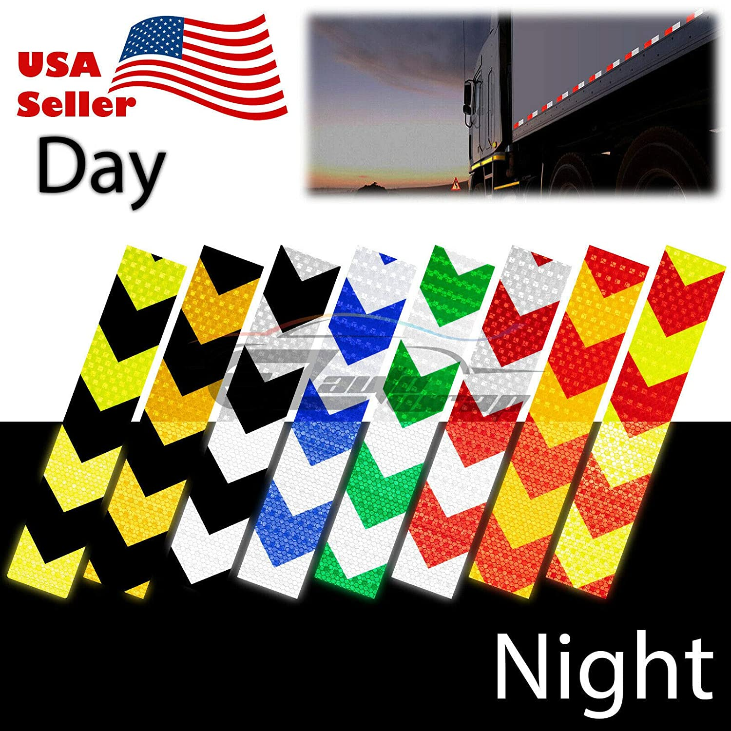 EZAUTOWRAP DOT-C2 Conspicuity Reflective Tape Checker Golden Yellow Black 1 Foot Safety Warning Trailer RV 5 Strips 5 Feet