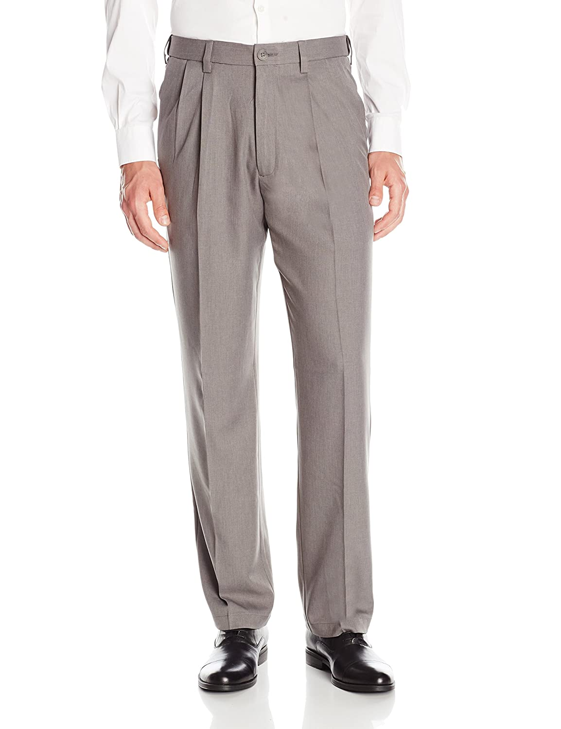 1ed1879fd9 Haggar Men's Cool 18 Pro Classic Fit Pleat Front Expandable Waist Pant,  Heather Grey, 44Wx29L at Amazon Men's Clothing store: