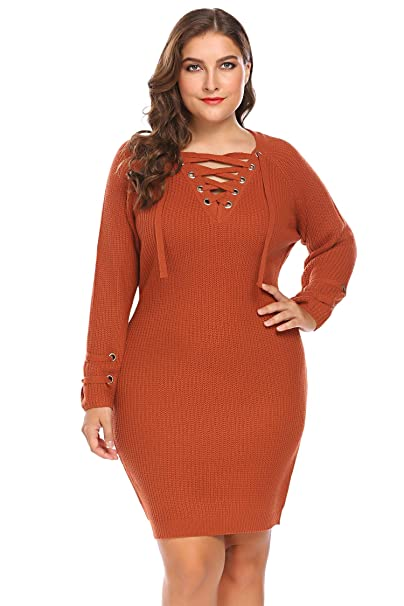 Zeagoo Womens Plus Size Lace Up V Neck Sweater Dress Long Sleeve