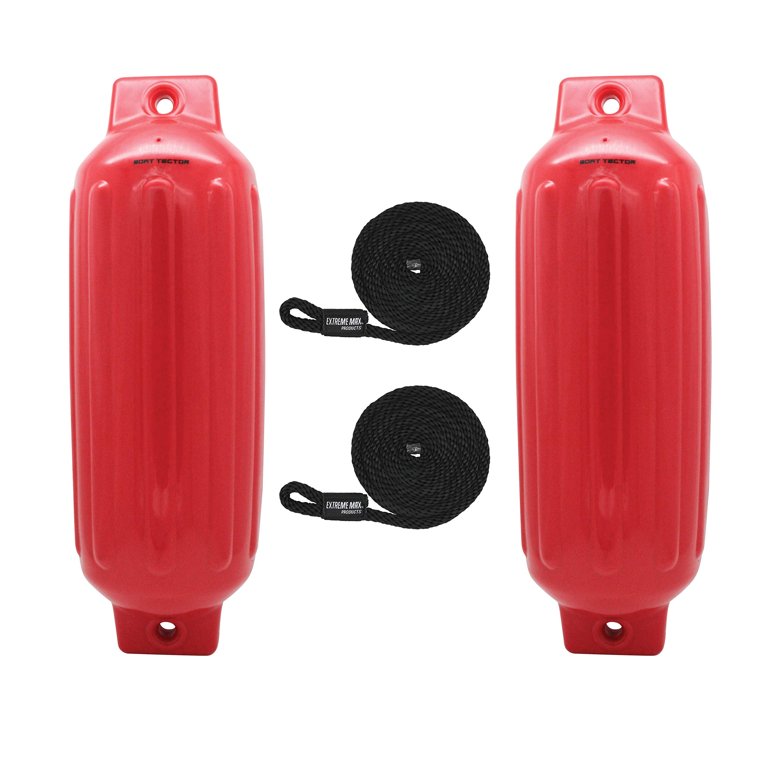 Extreme Max 3006.7563 BoatTector Fender, Red, 8.5'' x 27'' Value 2-Pack