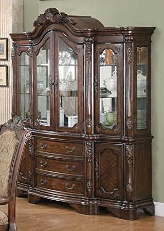 Coaster Furniture 103114 Andrea Dining China Hutch And Buffet In Brown  Cherry 103114