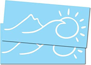 """Darknalia Ocean Mountain Sun Decal Stickers [ 8"""" - 2 Pack - for Cars laptops Bikes Snowboards] - White"""