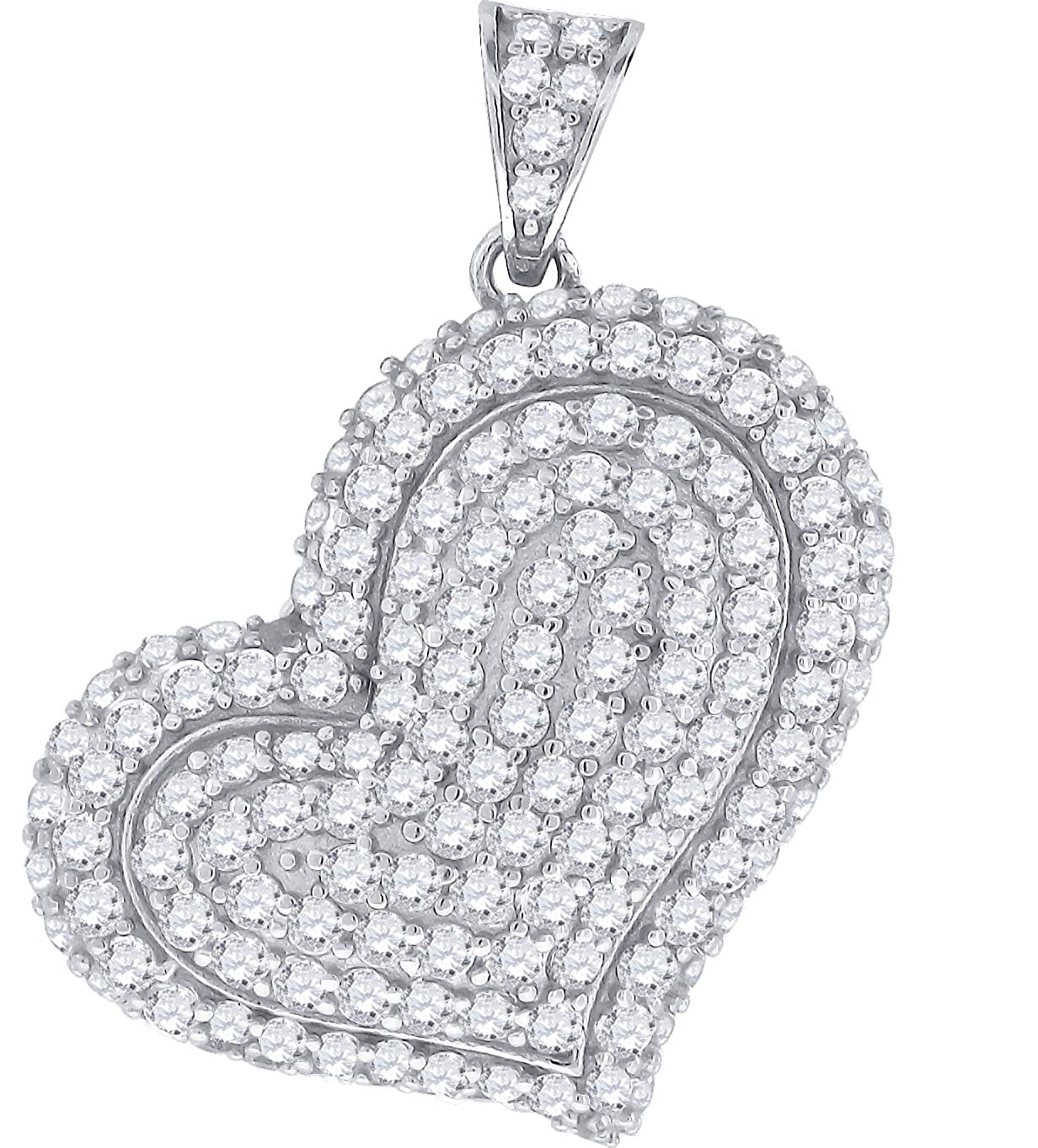 Jewels By Lux Sterling Silver Womens Round Cubic Zirconia CZ Heart Fashion Charm Pendant Set With The Highest Quality Cubic Zirconia.
