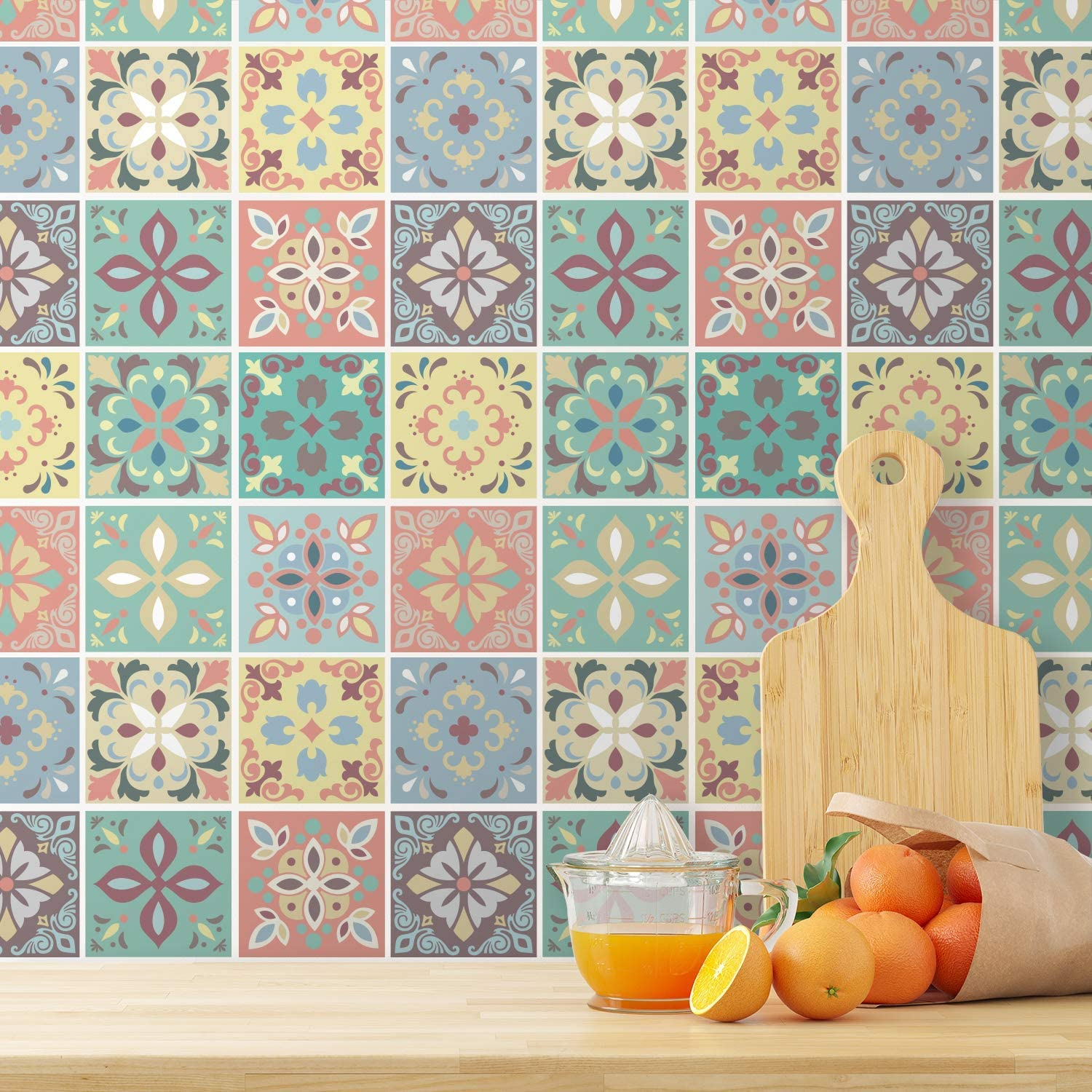 24pcs 6 inch Peel and Stick Tiles Stickers Tile Paint Backsplash Removable Waterproof Self-Adhesive Decals Vinyl Home Kitchen Bathroom Decor (Marbella Colourful - WT1558)
