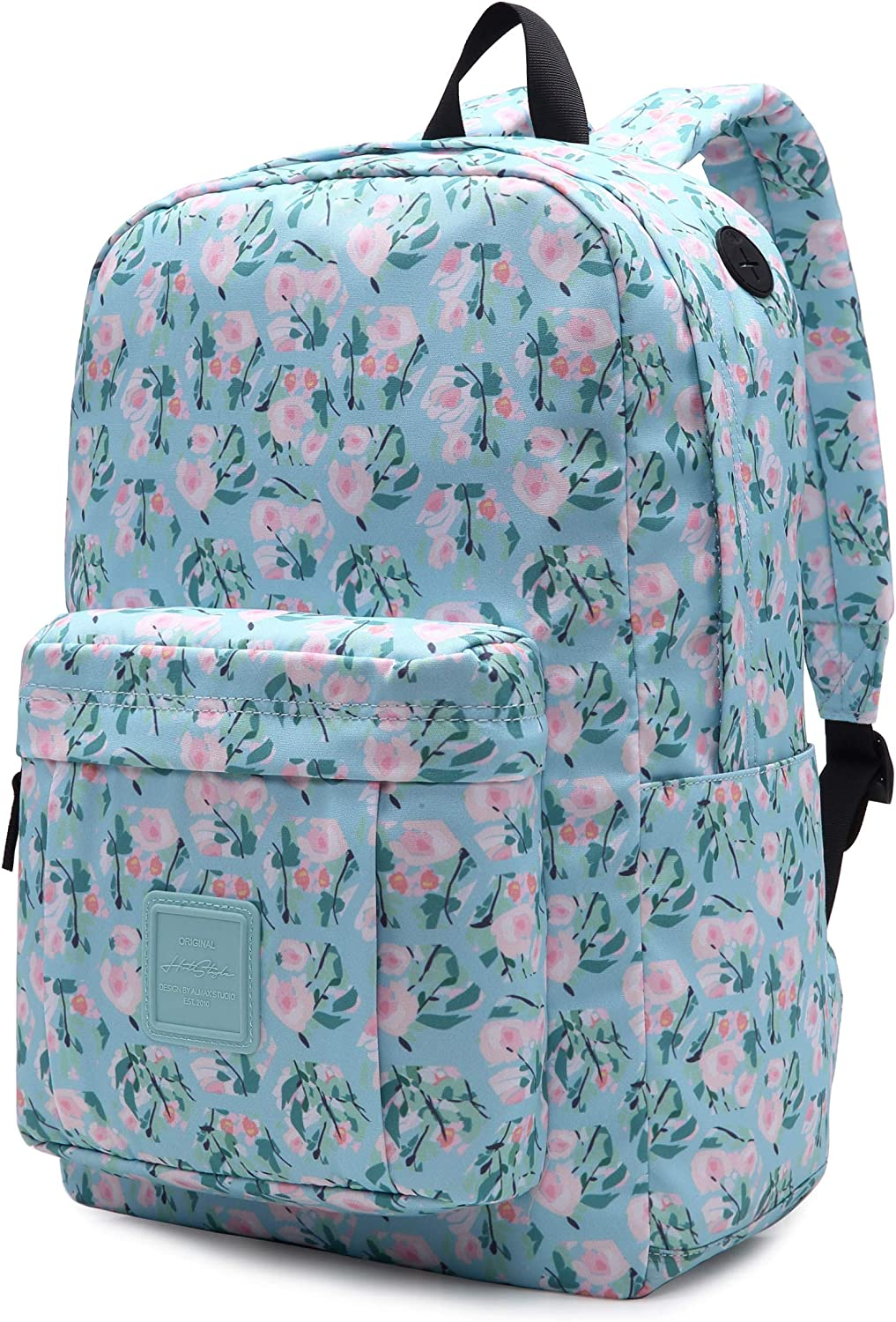 599s Floral School Backpack For Teen Girls, Water resistance & Durable Bookbag Cute for College, Long Rose, PaleTurquoise