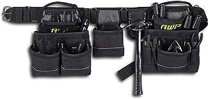 AWP General Construction Carpenter Tool Rig | Padded Adjustable Tool Belt, black