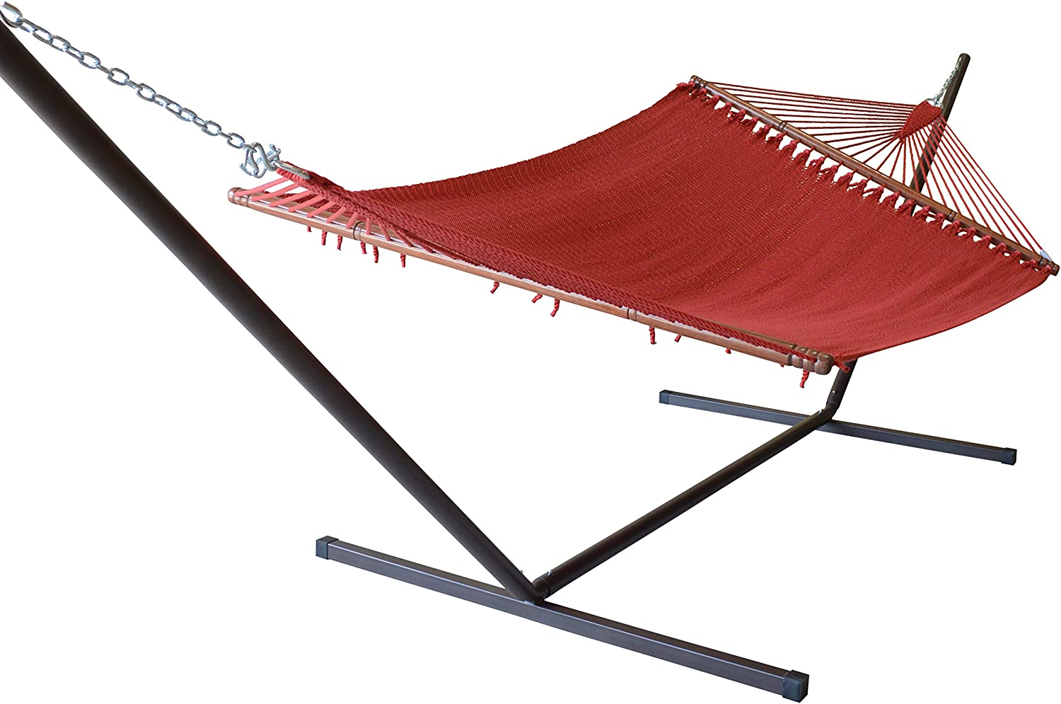 Caribbean Hammocks Jumbo Hammock and 15 ft Tribeam Stand - Red