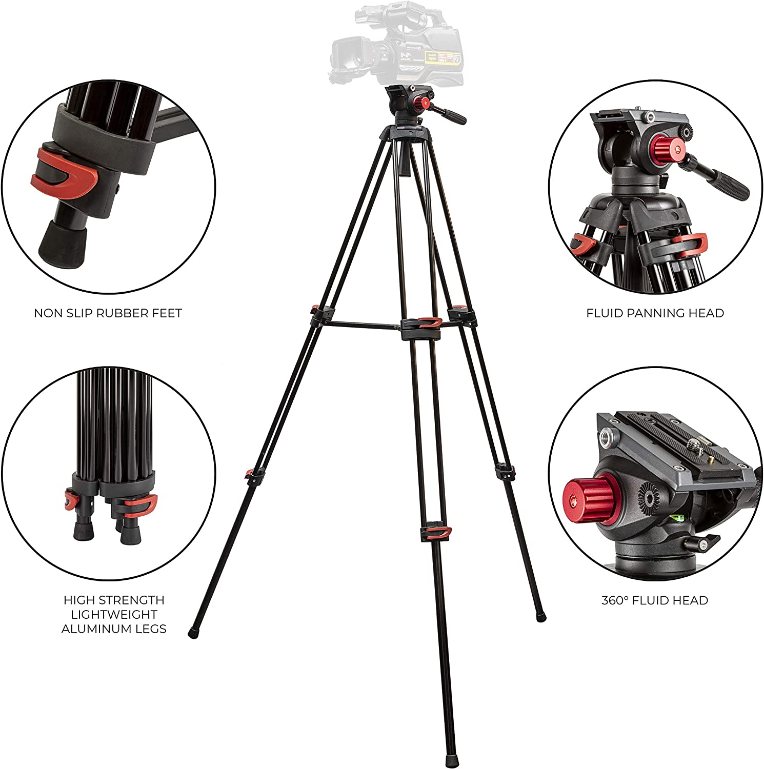 Ultimaxx 72 inch- Professional Heavy Duty Tripod Aluminum Twin Tube, 360 Panning Fluid Head, Non Slip High Strength Legs, Max Loading 17 LB, Camcorders and Cameras
