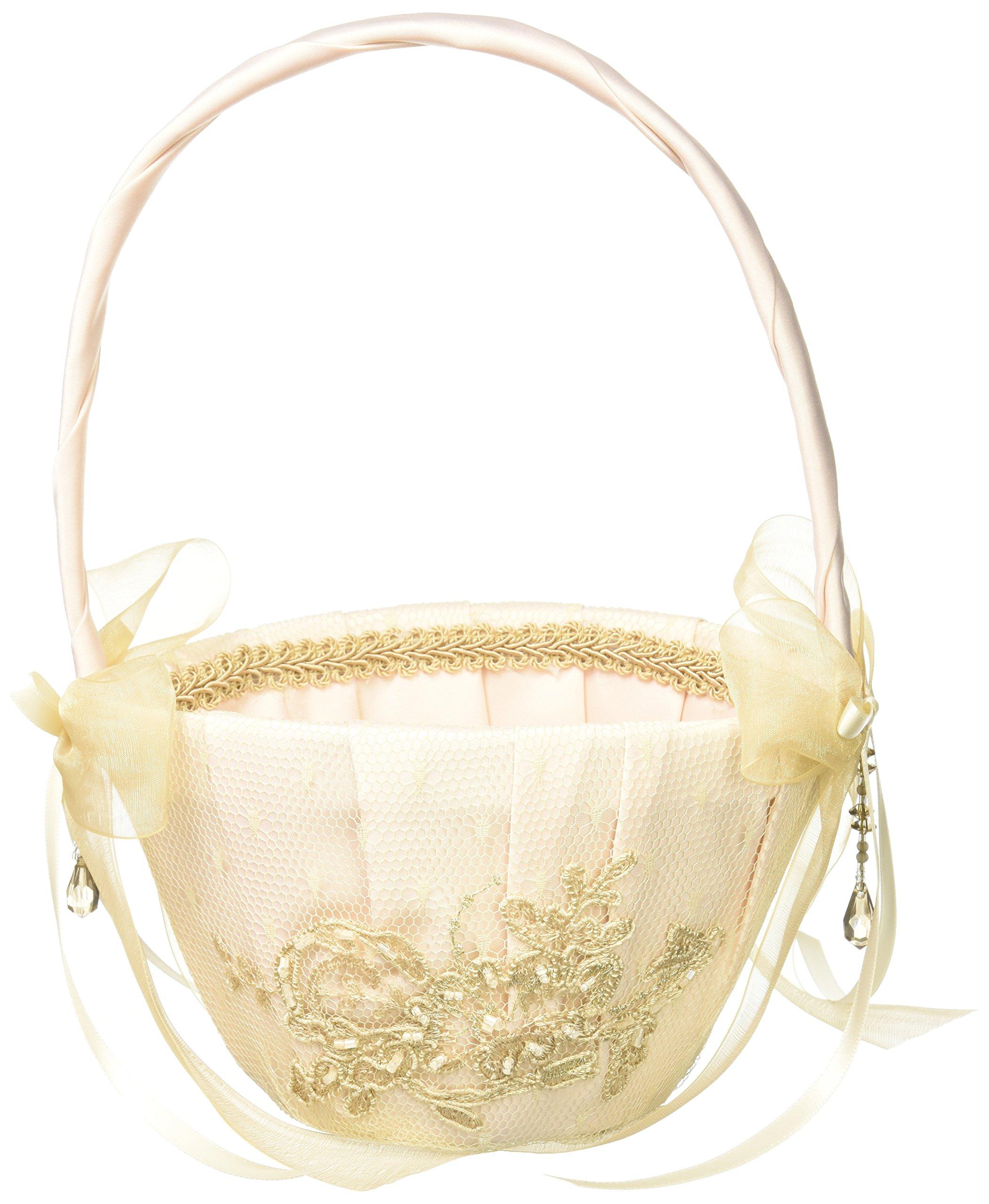 Bella Donna Wedding Accessories Flower Girl Basket, Champagne