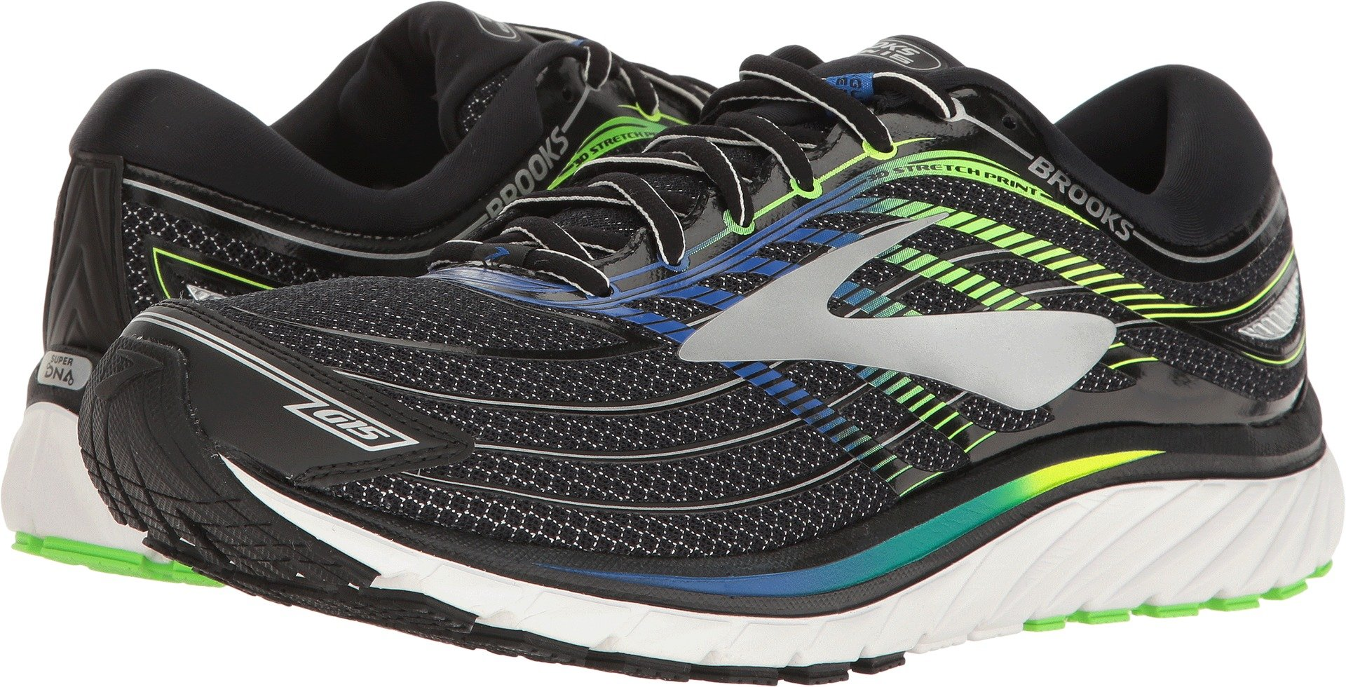 Brooks Men's Glycerin 15 Black/Electric Blue/Green Gecko 10.5 EE US by Brooks