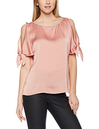 b39efd950b43 Dorothy Perkins Women's Embellished Neck Cold Shoulder Blouses, Pink  (Peach), ...