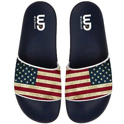 BVFCKMO American Flag Men's Fashion Comfortable Flip Flop Big Screen Slip On Slide Sandal