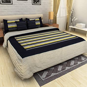 Pret Home King Size Faux Silk Quilted Bedspread Bed Cover with 2 Cushion Covers and 2 Pillow Covers (Cream Navy)