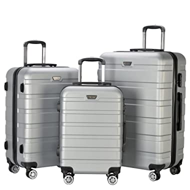 Resena Luggage 3 Piece Set Suitcase Spinner Hardshell Lightweight (Grey)