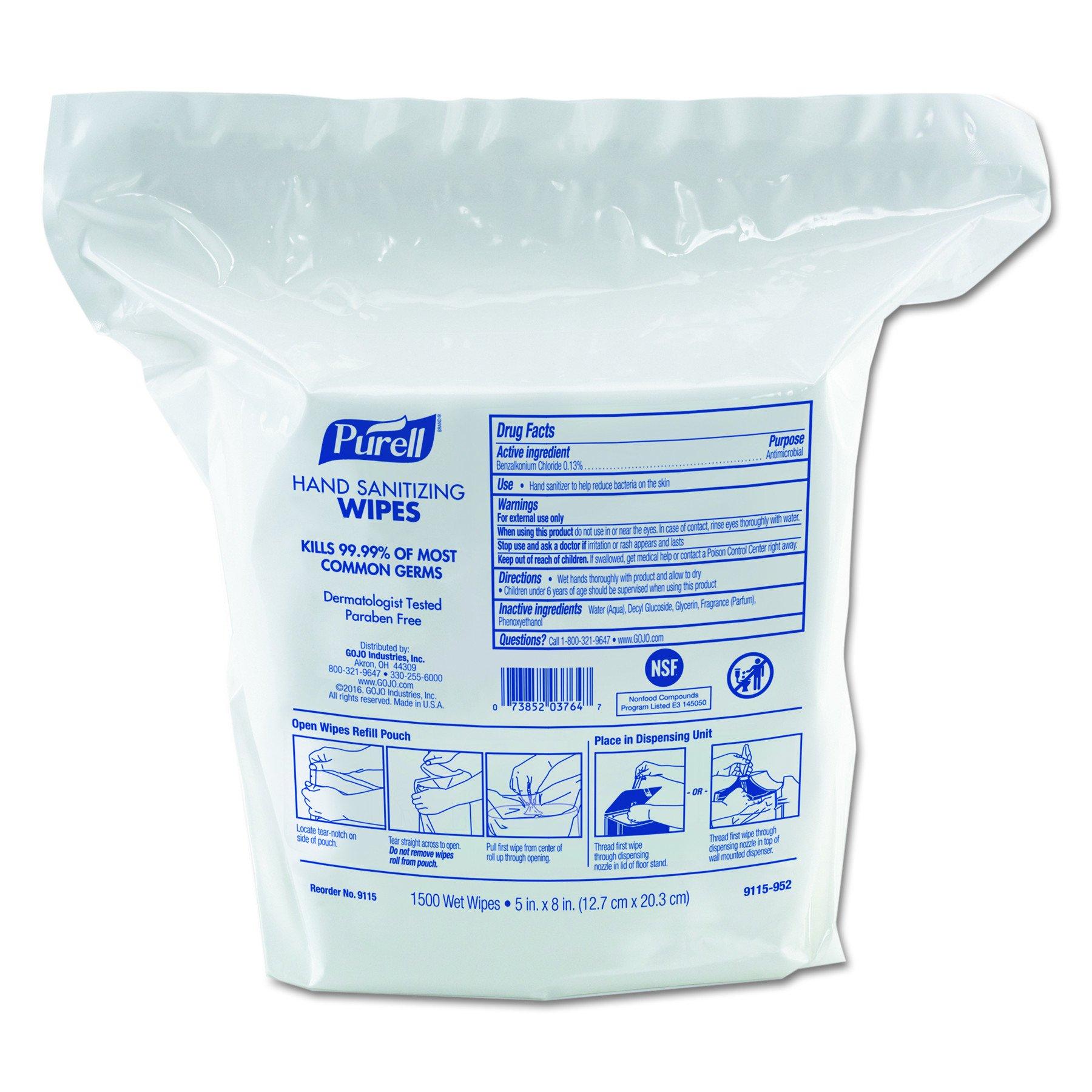 PURELL 9115-02 Premoistened Hand Sanitizing Wipes, Nonwoven Fiber, 5'' x 8'' (Pack of 120)