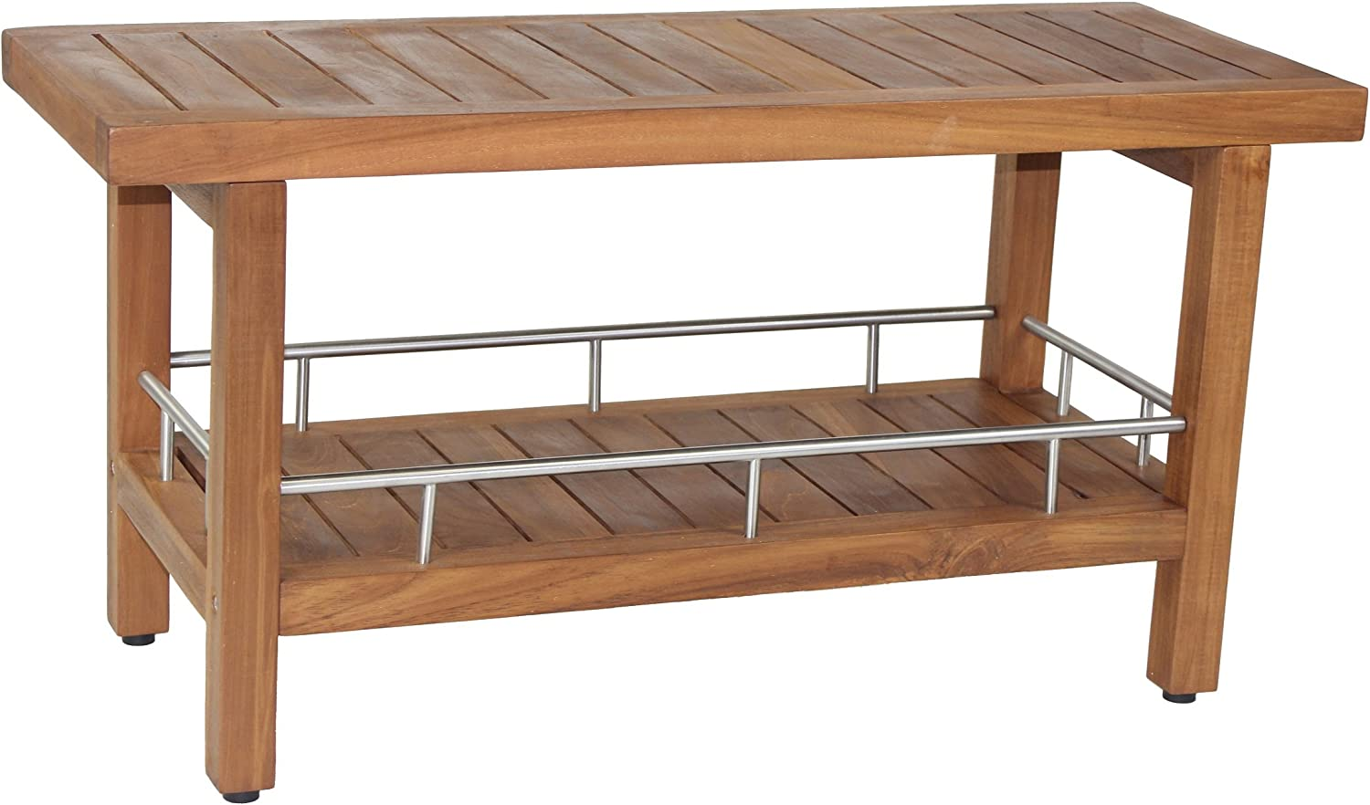 "B00BUUMMO6 AquaTeak Patented 36"" Spa Teak & Stainless Shower Bench with Shelf 81cKxBV3yBL"