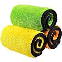 Trehai 840gsm Microfiber Cleaning Cloths, Lint Free Microfiber Dual Layer Ultra-Thick Car Polishing and Drying Cloth Auto Detailing Towels (3-Pack ; 15 x 17.7 inch)