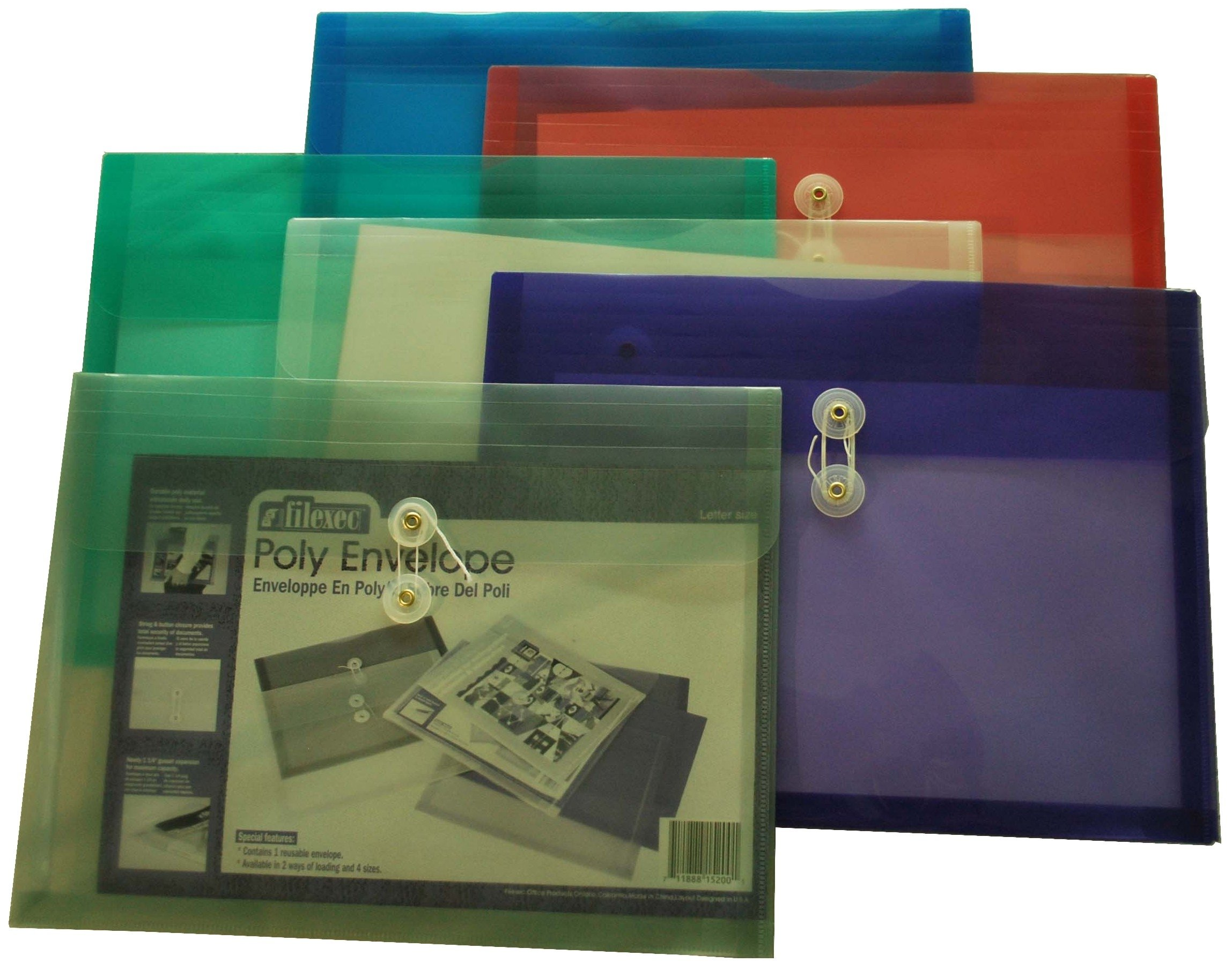 Filexec 50021-1520 1520, Poly Envelope, Side Loading, Letter Size, Set of 12 in 6 Assorted Colors, 2 Each Smoke, Blue, Red, Clear, Purple, Green