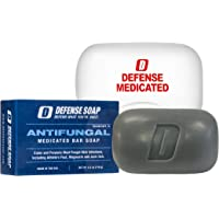 Defense Antifungal Medicated Bar Soap | FDA Approved Treatment for Athlete's Foot Fungus and Intensive Treatment for Fungal Infections of The Skin (One Bar with Snap-Tight Case)