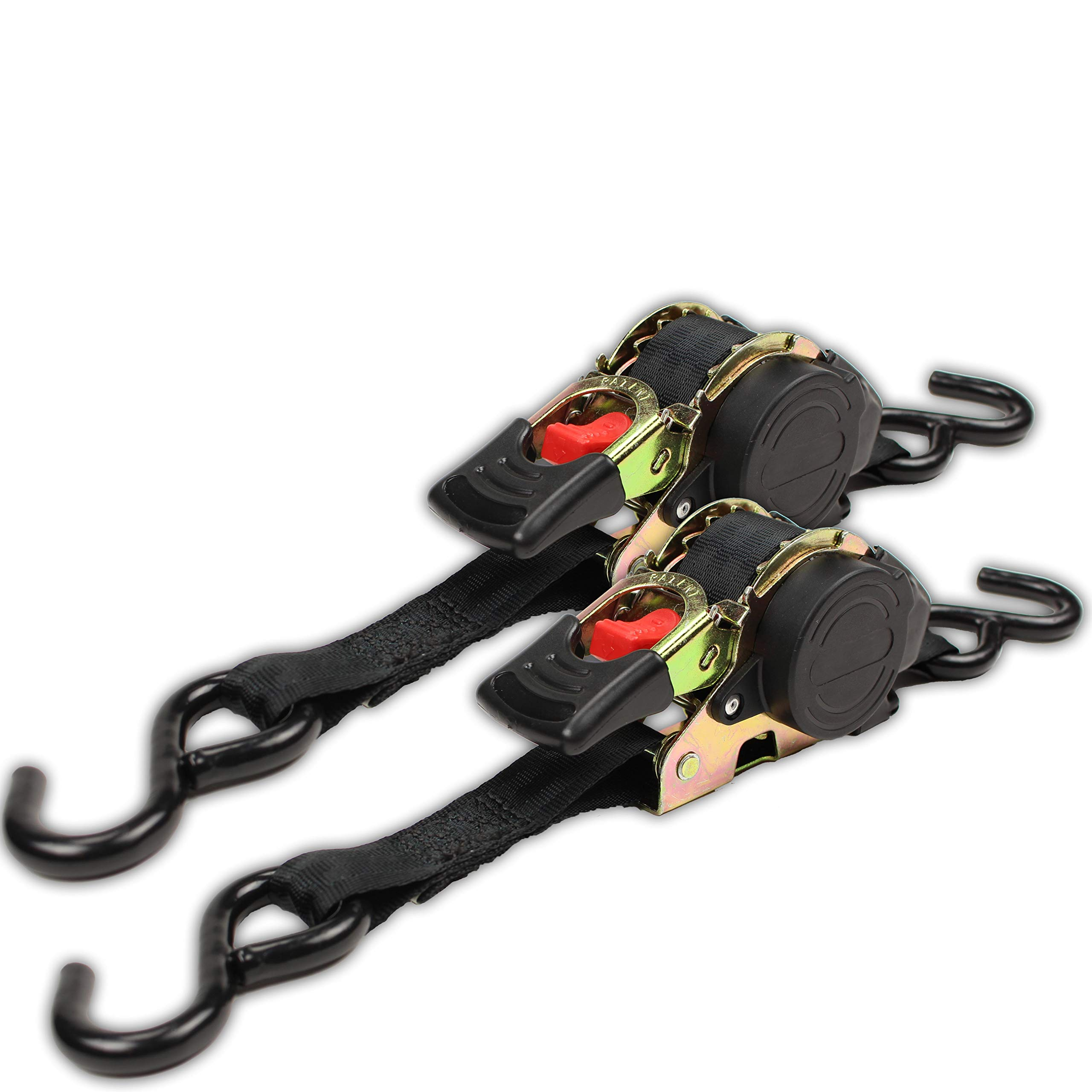 (2-Pack) Retractable Ratchet Straps with Vinyl Coated S-Hooks, 1'' x 10' Ratcheting Tie-Downs for Easy, Tangle-Free Hauling in Trailers and Pickups - 1,200 lb Break Strength