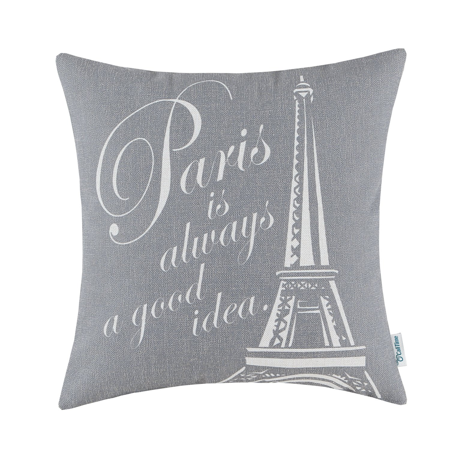 CaliTime Canvas Throw Pillow Cover Case for Couch Sofa Home Decoration Famous Paris Eiffel Tower 18 X 18 inches Medium Grey