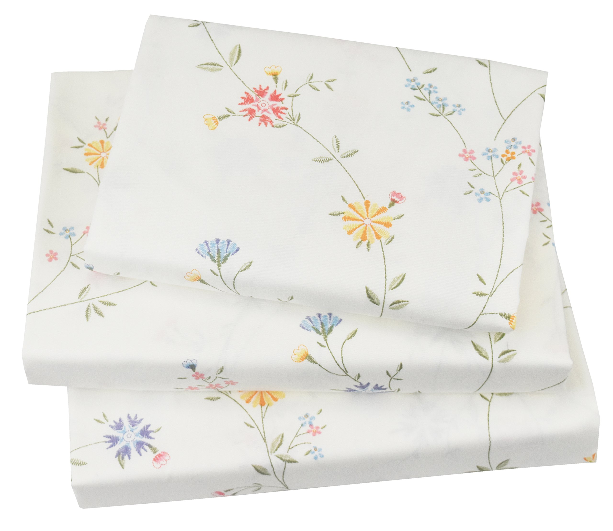J-pinno Cute Vine & Flowers Twin Sheet Set for Kids Girl Children,100% Cotton, Flat Sheet + Fitted Sheet + Pillowcase Bedding Set (flower4)