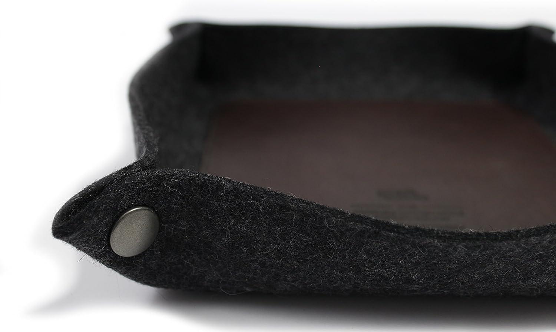 Pack /& Smooch Taschenleerer Schl/üsselablage Handyablage 100/% Merino Wollfilz Pflanzlich gegerbtes Leder Grau//Hellbraun