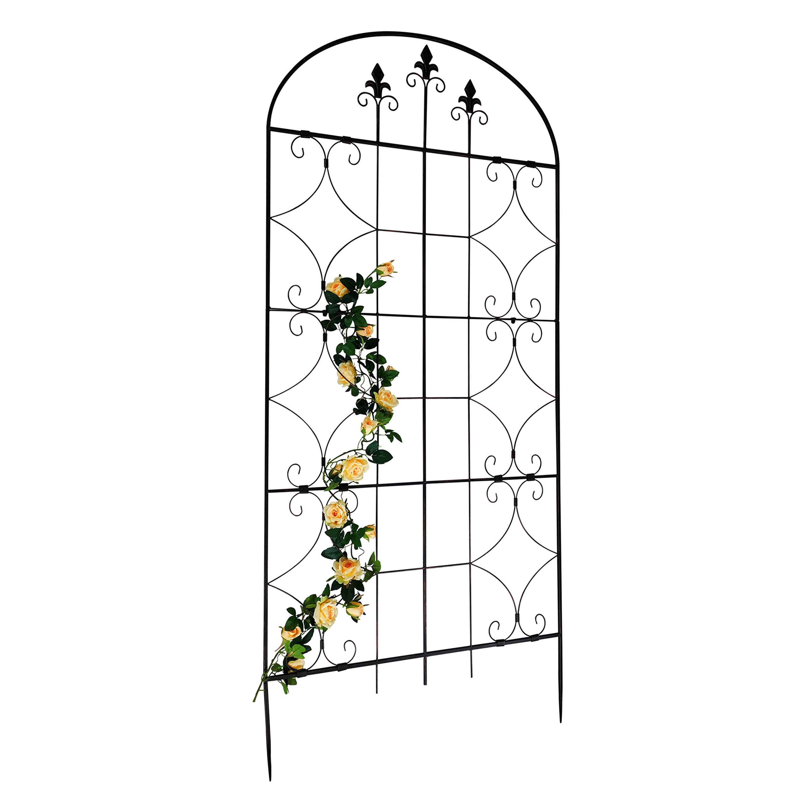 OUTOUR Garden Trellis Plant Support Wire Lattice Grid Panel Stake Fence, 64''x28'', for Climbing Plants, Potted Vines Vegetables Vining Flowers Ivy Roses Clematis, Lawn Backyard Patio, Antique Bronze
