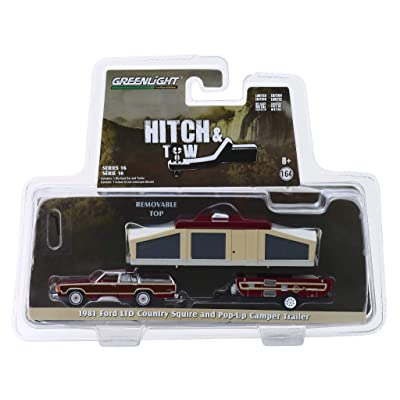 Greenlight 1/64 Hitch & Tow Series 16-1981 Ford LTD Country Squire and Pop-Up Camper Trailer Diecast Model Car 32160C: Toys & Games