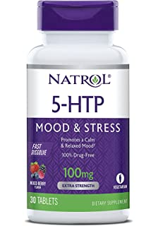 Natrol 5-HTP Fast Dissolve Tablets, Wild Berry, 100 Mg, 30 Count