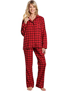 9a06e220d1 Noble Mount Twin Boat Womens 100% Cotton Lightweight Flannel Pajama  Sleepwear Set