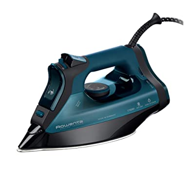 Rowenta DW7180 Everlast 1750-Watt Anti-Calc Steam Iron Stainless Steel Soleplate with Auto-Off, 400-Hole, Blue