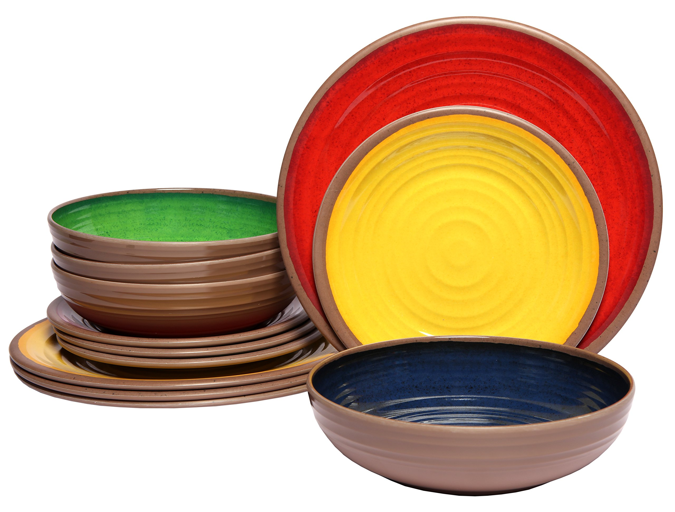 Melange 12-Piece 100% Melamine Dinnerware Set (Clay Collection) | Shatter-Proof and Chip-Resistant Melamine Plates and Bowls | Color Multicolor | Dinner Plate, Salad Plate & Soup Bowl (4 Each) by Melange (Image #1)