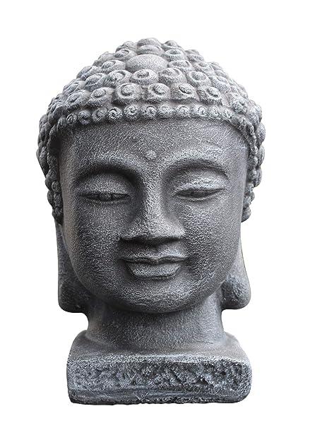 Buddha Kopf Deko.Tiefes Kunsthandwerk Buddha Kopf Schiefergrau Garten Deko Figur Stein Statue Frostsicher