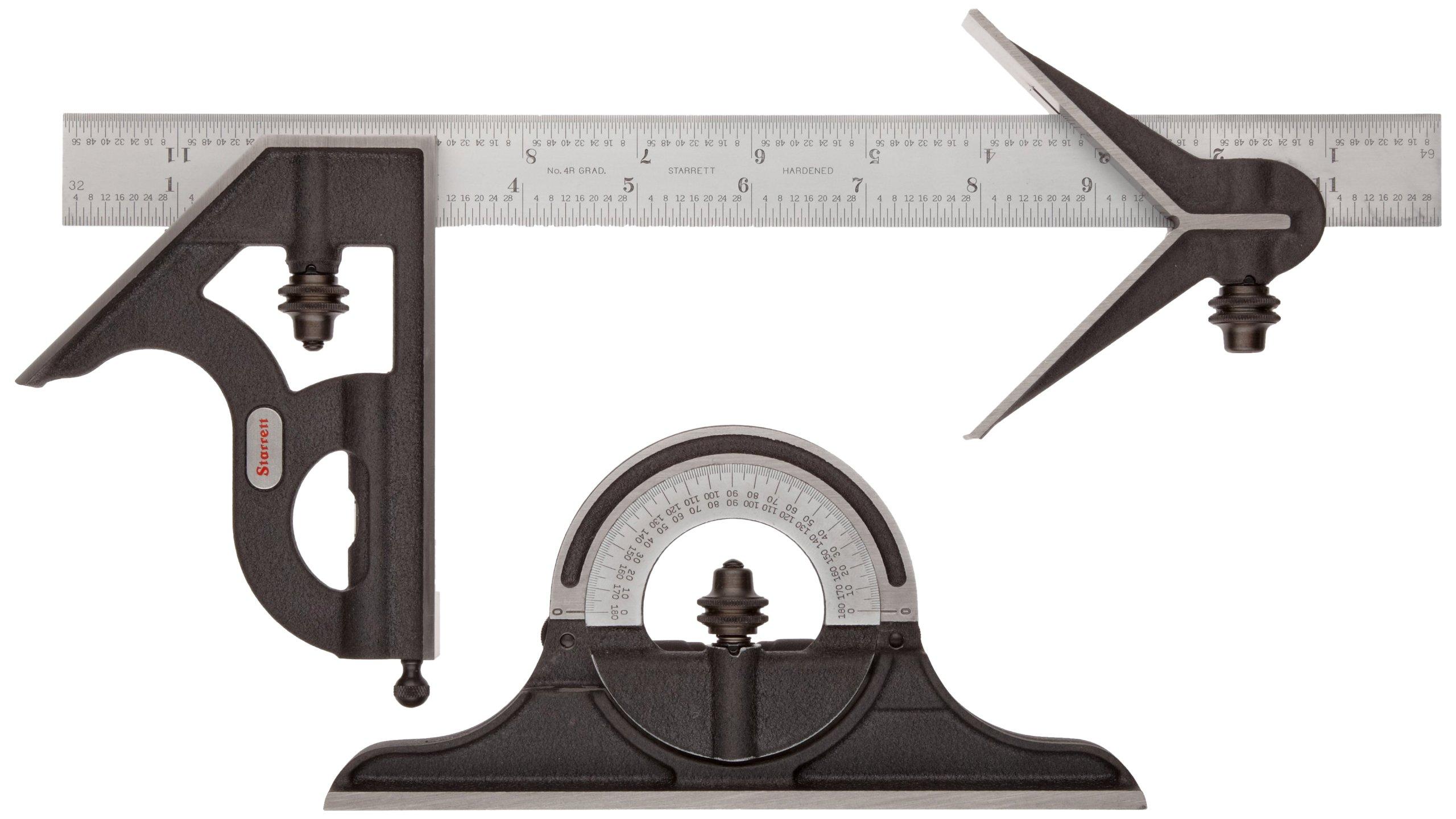 Starrett C435-12-4R Combination Set, Cast Iron Heads, Satin Chrome Blade, 12'', 4R Grad, by Starrett