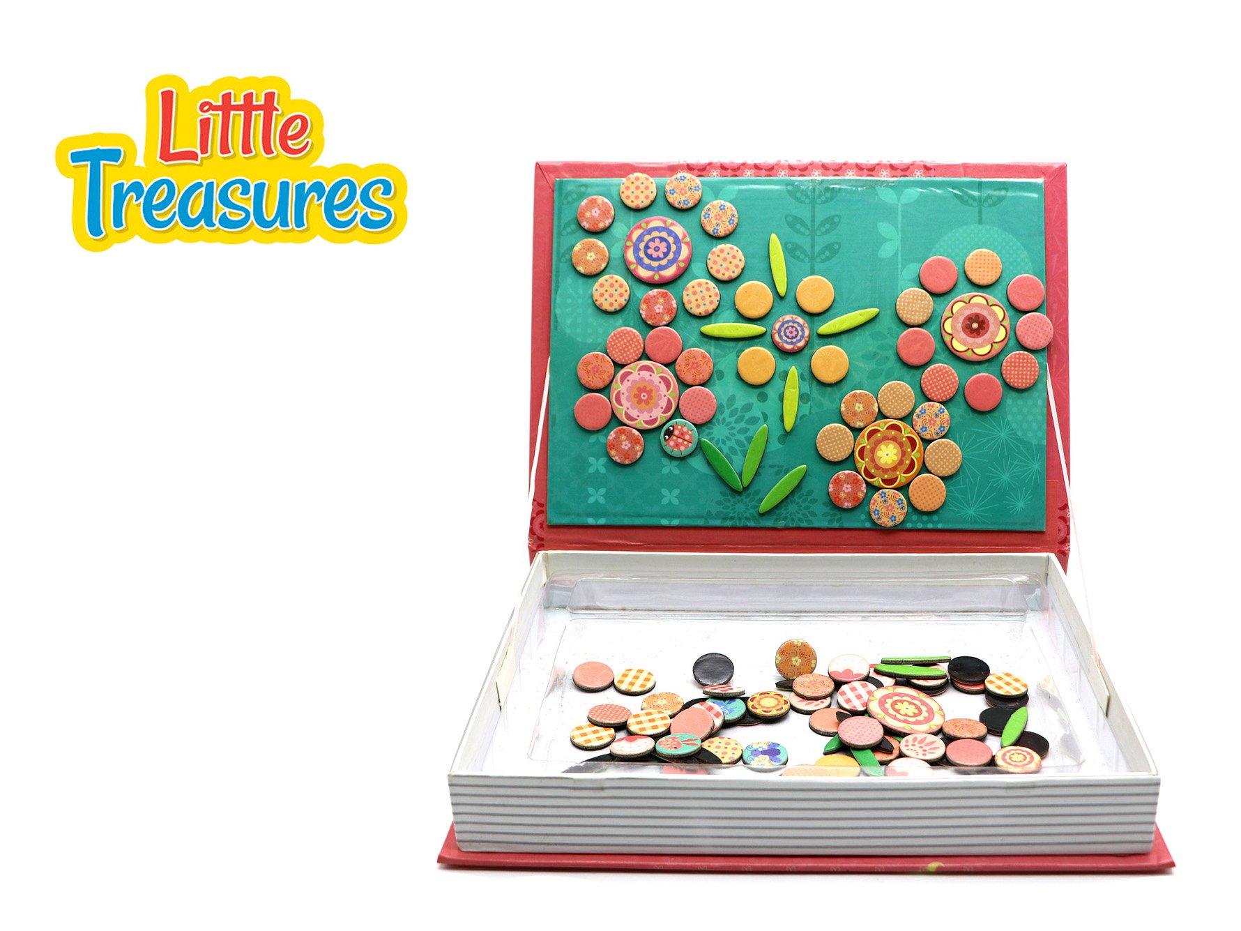 Little Treasures 118-Pcs Magnetic Flowers Puzzle Toy Book Set for Kids Ages 3 Plus