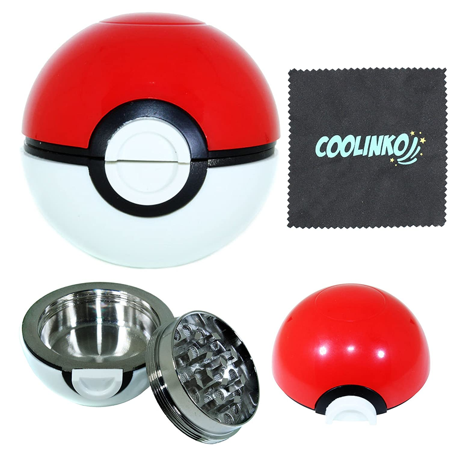 Premium 3 Piece Pokemon Ball Grinder - Ideal for Weed, Tobacco, and Spices - Sharp Blades for A Smooth Grind - Awesome Present for Pokemon Fans - Kief Catcher, Cleaning Cloth and Box Included Assortmart