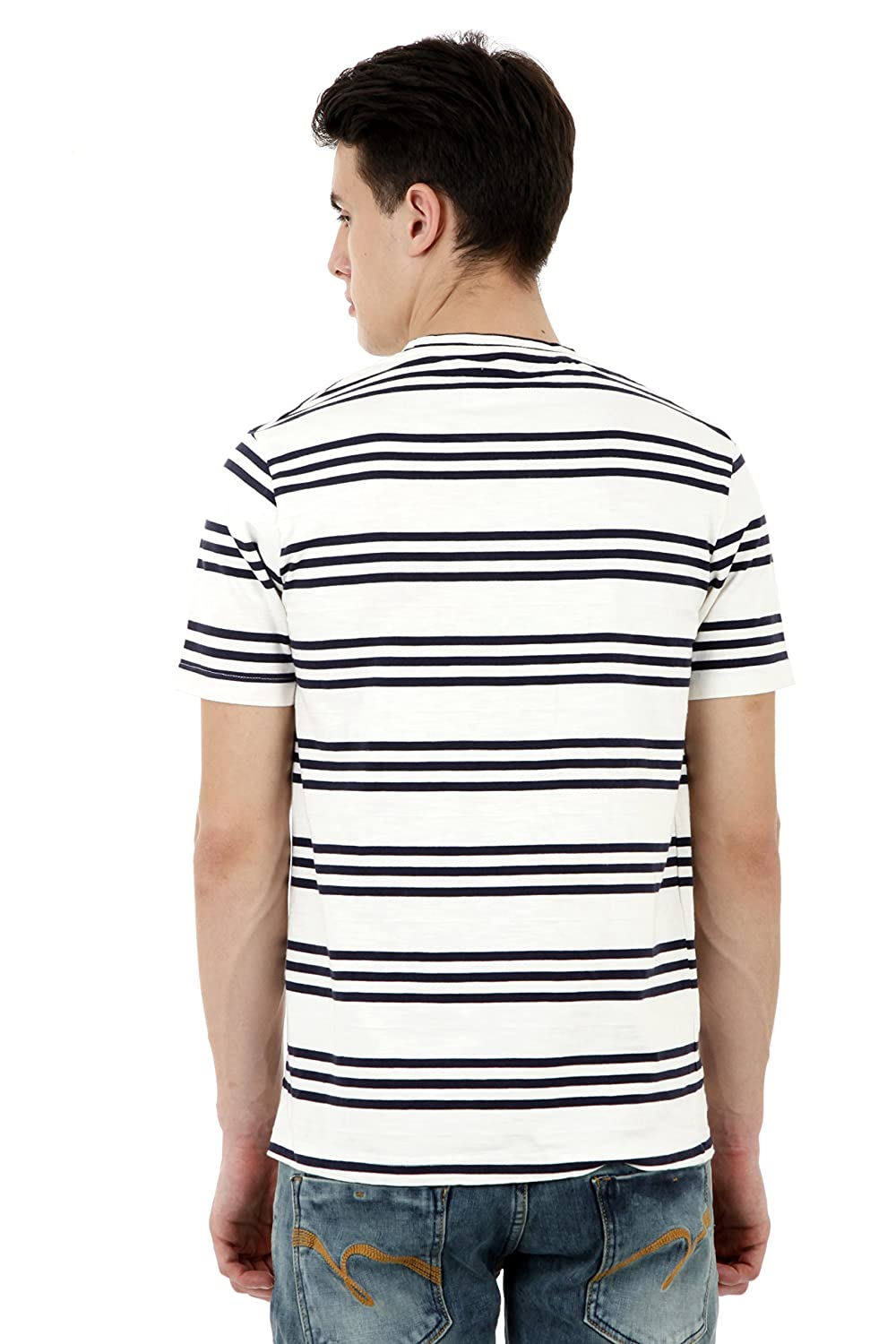 d5beba34c Roman Island Men s White and Black Lines Half Sleeves T-Shirt  Amazon.in   Clothing   Accessories