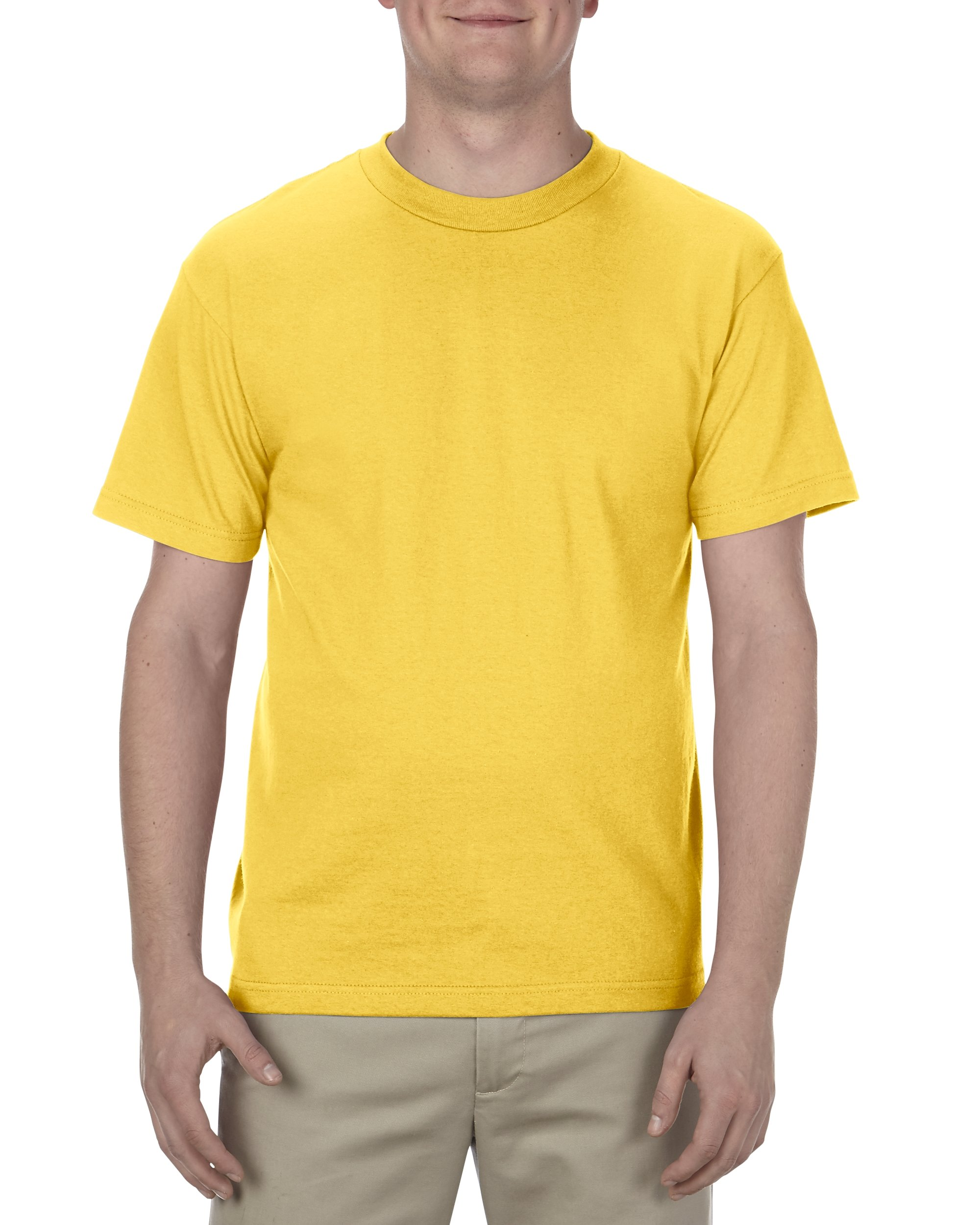 Alstyle Apparel AAA Men's Classic Cotton Short Sleeve T-shirt, Yellow, Large