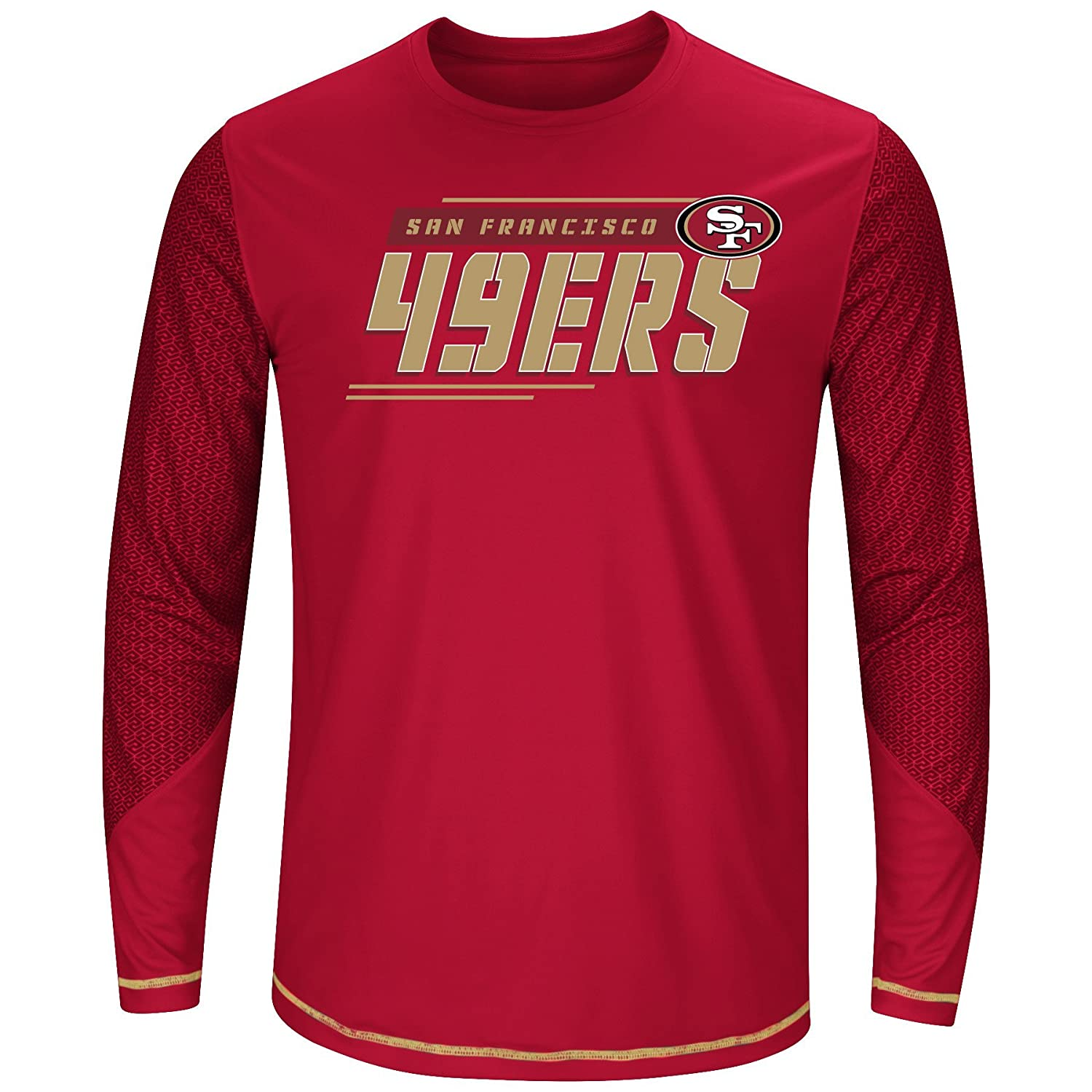 NFL Mens 49ers L S Poly Tee Geo hex