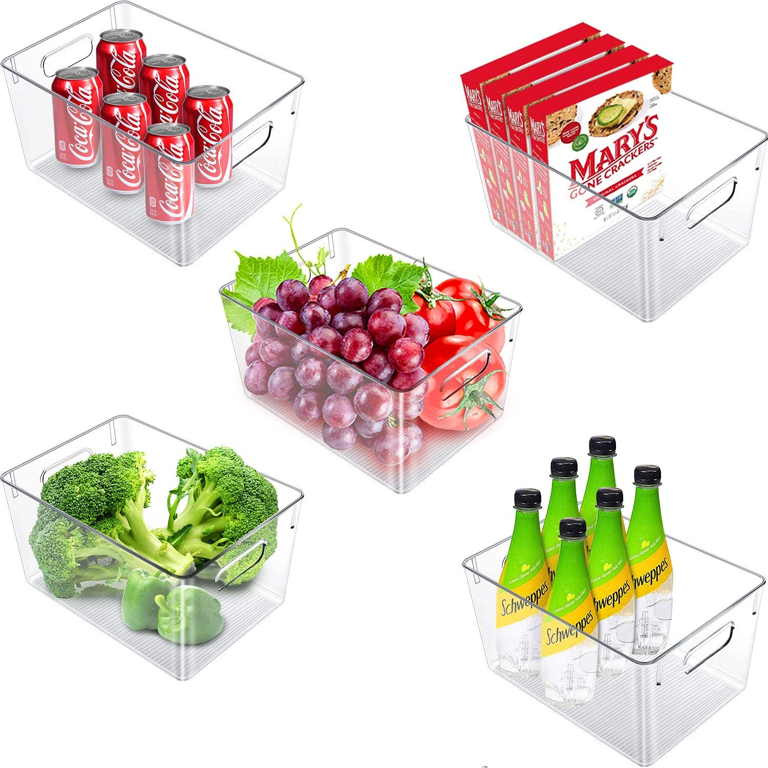 Vsadey Clear Plastic Storage Bins 5 Pack, Large Fridge Organizer Container with Handles Perfect for Organizing, Kitchens, Fridge, Cabinets, for Storing food, Snacks, Clothes, Toys - 11
