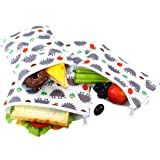 Langsprit Premium Reusable Sandwich & Snack Bags-Washable Lunch Bags - Set of 3 - (Hedgehog)