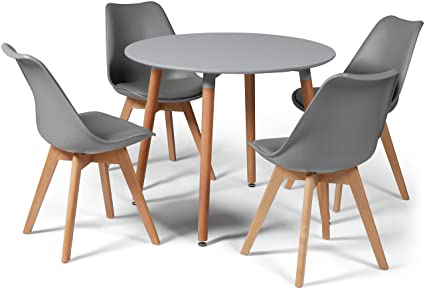 Eiffel Dining Set Grey Round 90cms Small Table And 4 Grey Chairs