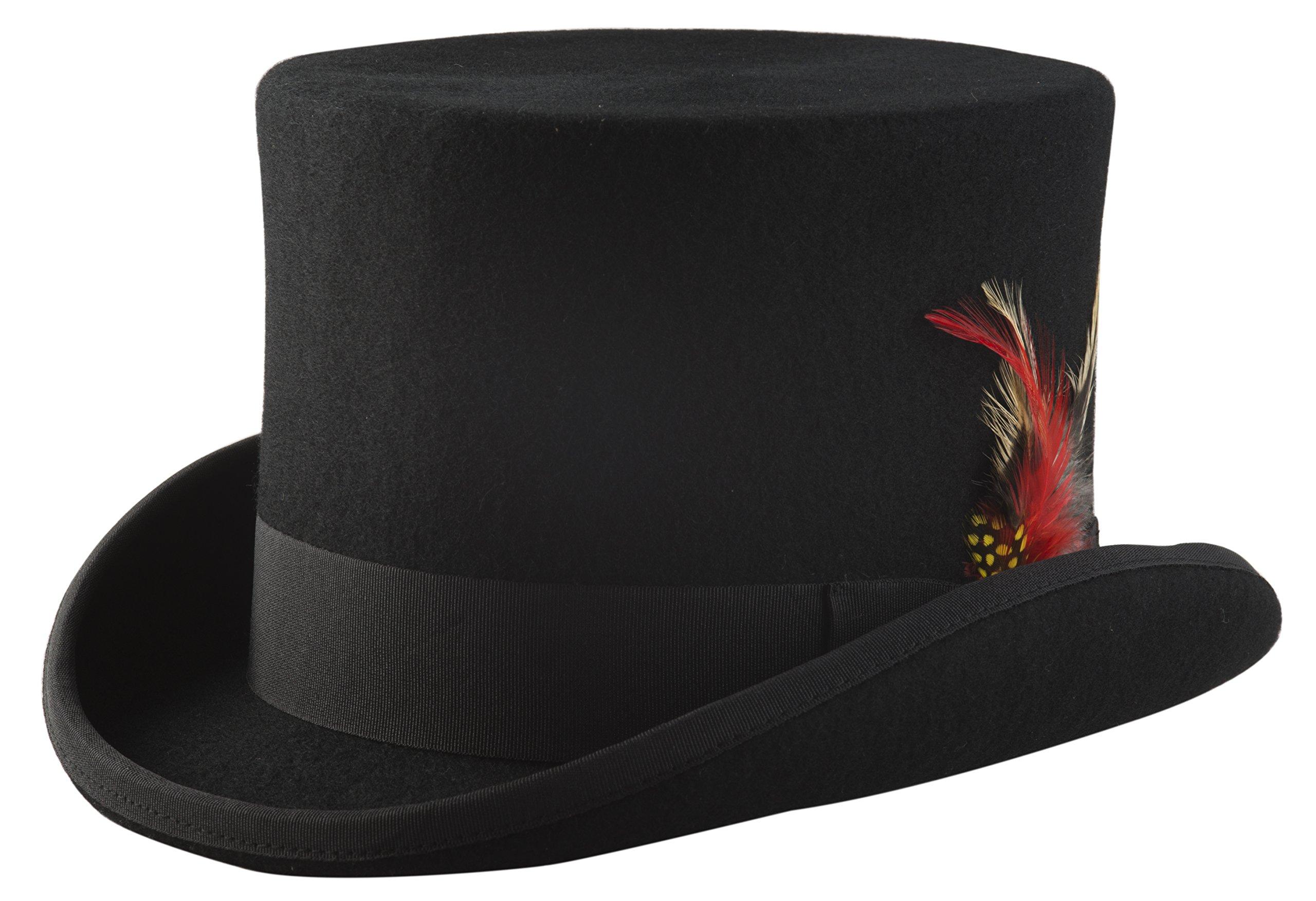 Black Top Hat, Lined Wool Felt 3