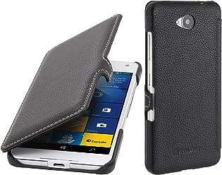 StilGut Book Type Case con Clip, Custodia in Pelle per Microsoft Lumia 650/650 Dual SIM, Nero