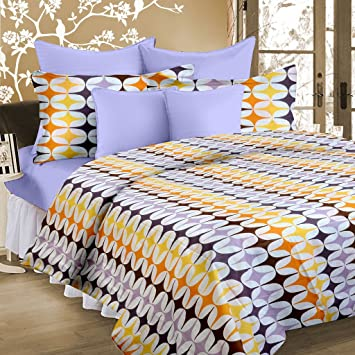 Cortina 104 TC Cotton Double Bedsheet with 2 Pillow Covers - Multicolour