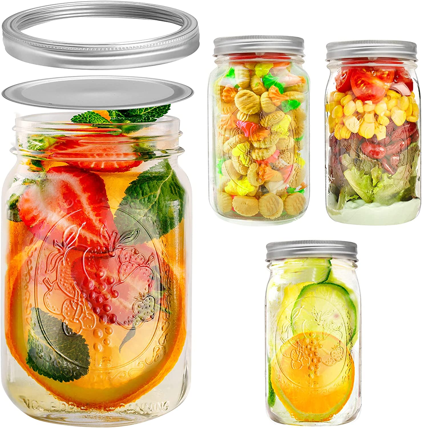 Ball Mason Jars 32 oz Wide Mouth with Lids and Bands, 4 Pack Glass Canning Jars Mason Jars with Airtight Lids for Food Storage,Canning,Salads,Jam,Cookies,Honey and DIY Decoration