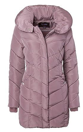 220ec32b10a0e Sportoli Womens Winter Fleece Lined Chevron Quilted Puffer Jacket Coat with  Hood - Dusty Pink (